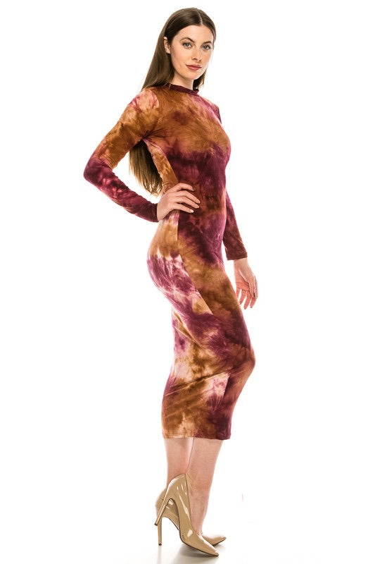 Tye Dye Dress Wine