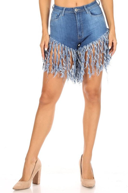 Denim Fringe Shorts