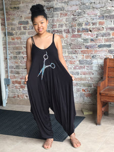 Harem Pant Romper With Bling Shears