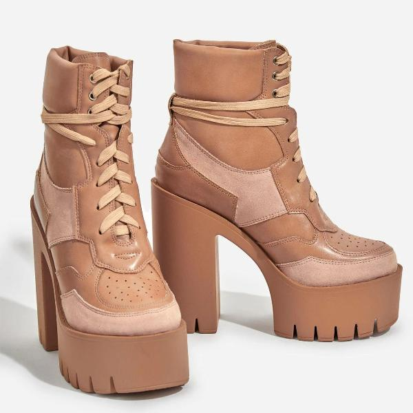Platform Lace Up Bootie Nude