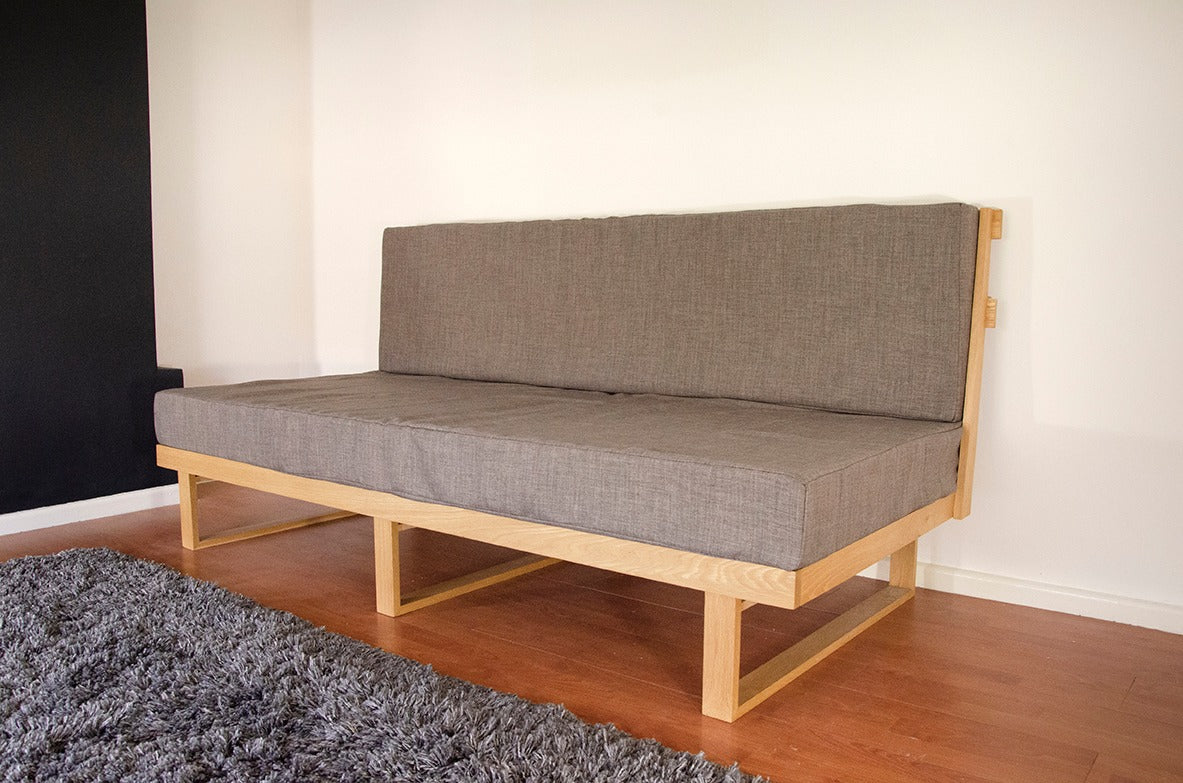 bespoke handmade sofa bed. Made from oak on the Wirral