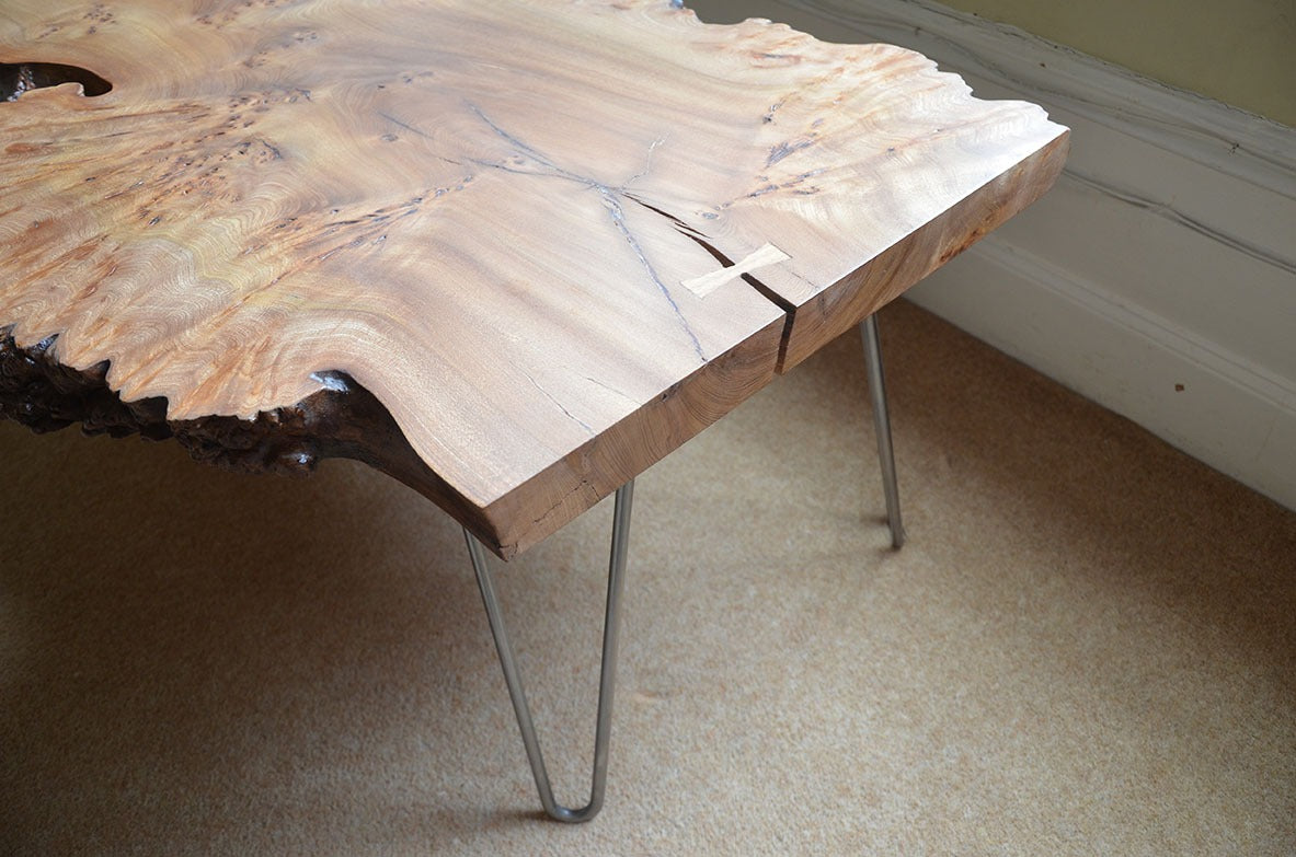 Solid wood coffee table handmade bespoke from elm on the Wirral