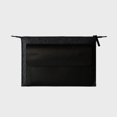 MacBook 12 black leather wool felt case