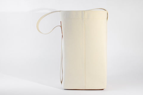 BUCKET TOTE, 16 oz canvas & vege tanned leather (tan)