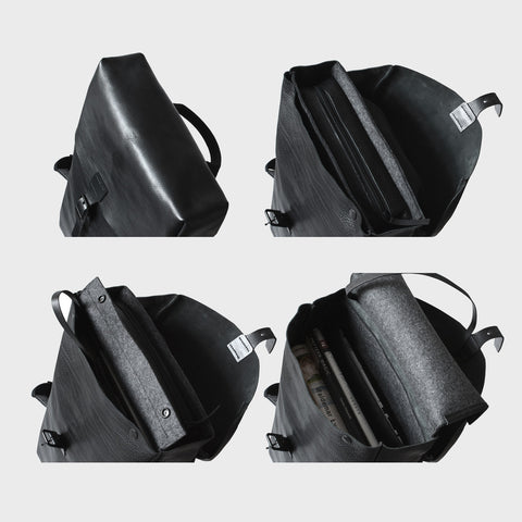 leather large pouch backpack