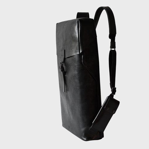 mens leather black backpack