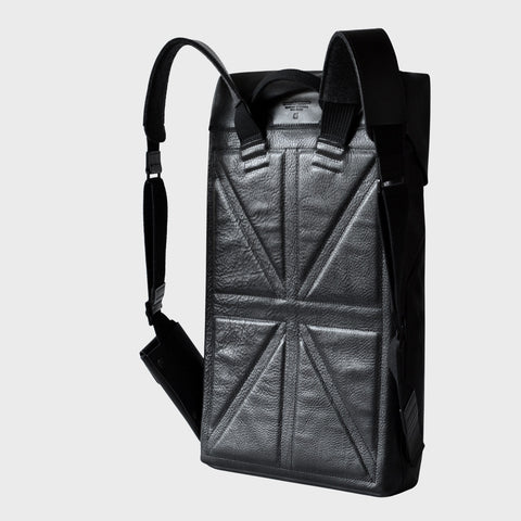 union jack padded back panel leather backpack