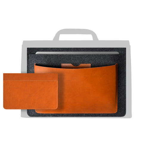 laptop wool felt leather compartment
