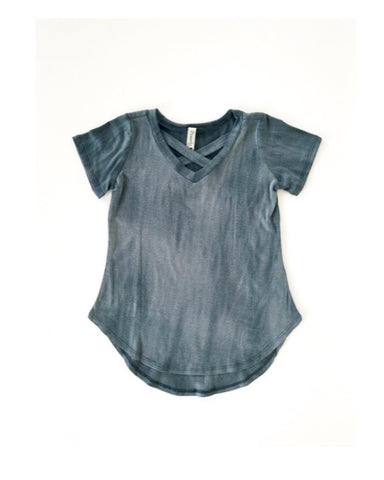 Distressed wash criss cross v-neck