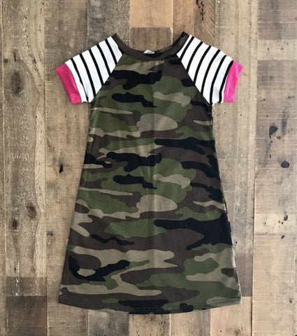 Camouflage Baseball Sleeve Dress