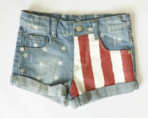 Red, White and Blue Jean Shorts