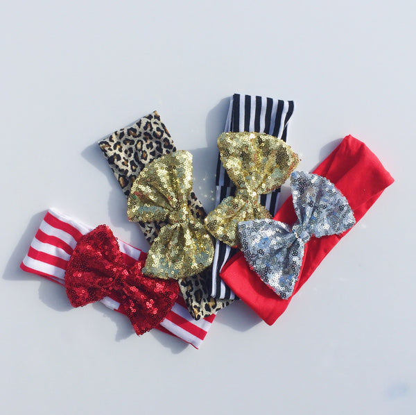 Sequin headband - candy cane