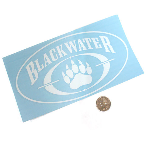 Blackwater Large Die Cut Sticker White 4x8