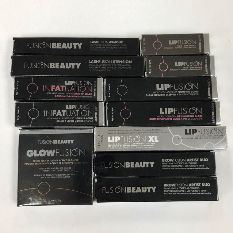 WHOLESALE ASSORTED FUSION BEAUTY LIPFUSION LASHFUSION COSMETICS LOT - 50 PIECE LOT