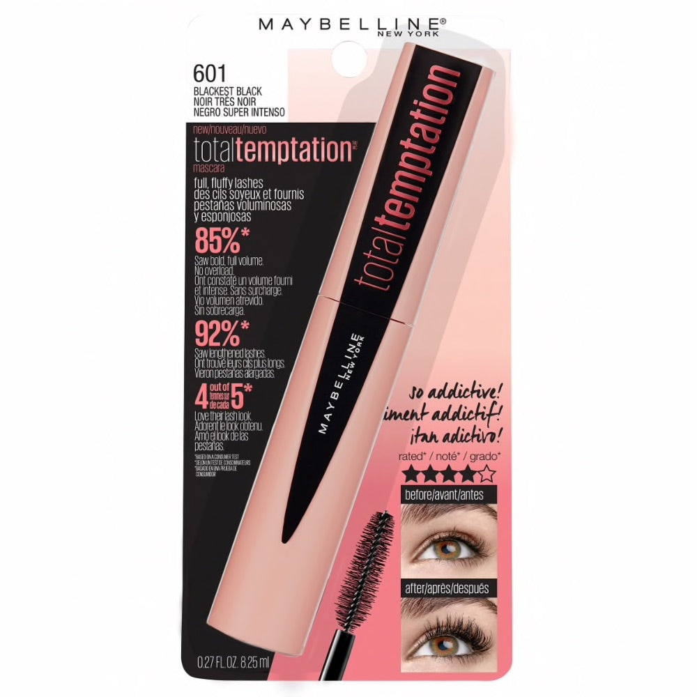 WHOLESALE MAYBELLINE TOTAL TEMPTATION MASCARA 0.27 OZ - BLACKEST BLACK 601 - 72 PIECE LOT