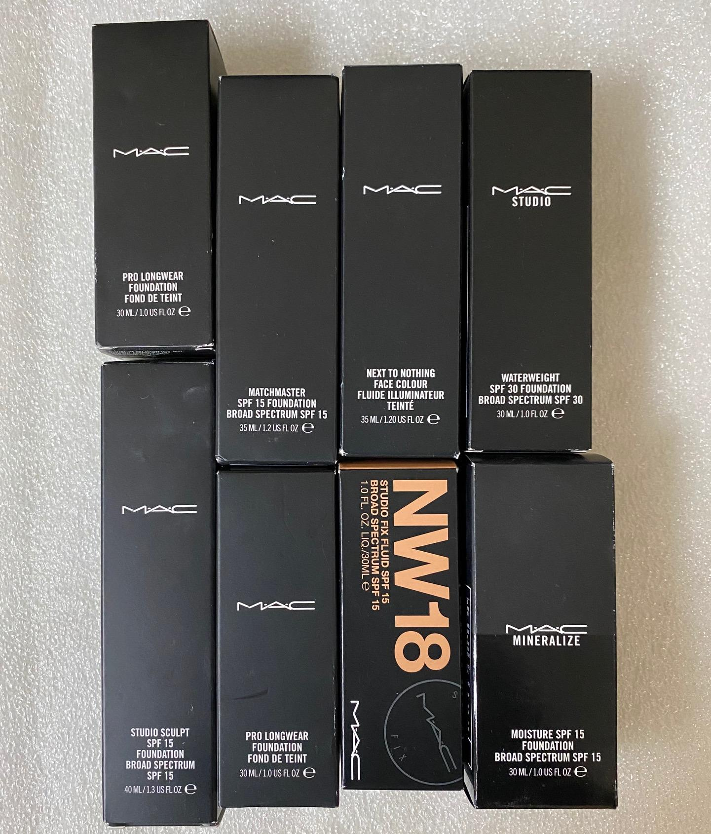 WHOLESALE ASSORTED MAC FOUNDATION DIFFERENT TYPES AND ASSORTED SHADES - 50 PIECE LOT