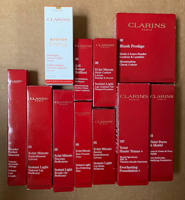 WHOLESALE ASSORTED CLARINS COSMETICS LOT BOXED - ASSORTED - 50 PIECE LOT