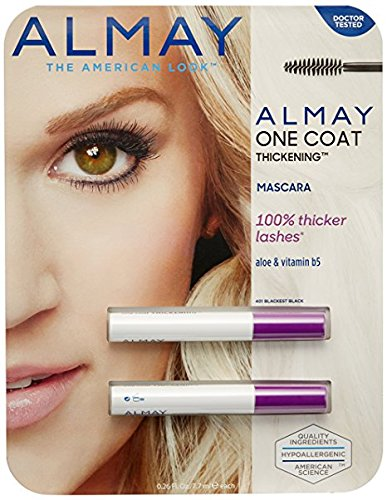 WHOLESALE ALMAY ONE COAT THICKENING MASCARA 2 PACK - BLACKEST BLACK 401 - 48 PIECE LOT
