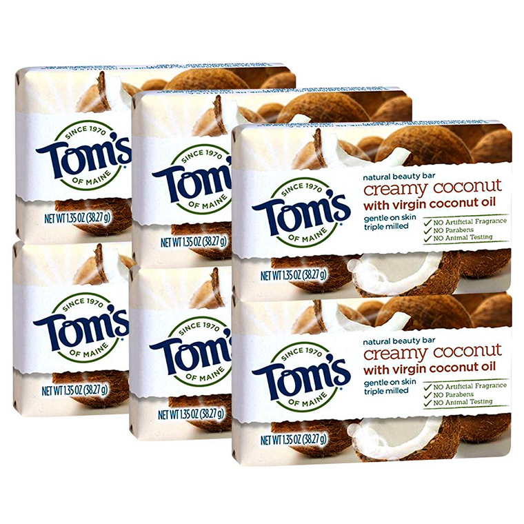 WHOLESALE TOM'S OF MAINE NATURAL BEAUTY BAR 1.35 OZ (6 PACK) - CREAMY COCONUT  - 48 PIECE LOT