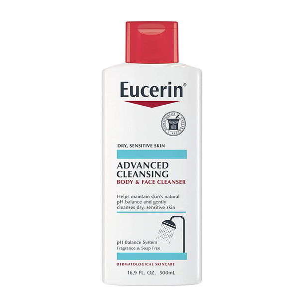WHOLESALE EUCERIN ADVANCED CLEANSING BODY & FACE CLEANSER 16.9 OZ - 48 PIECE LOT