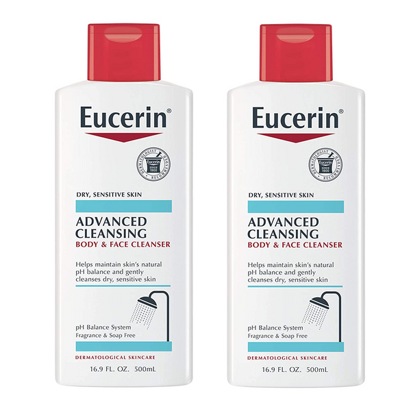 WHOLESALE EUCERIN ADVANCED CLEANSING BODY & FACE CLEANSER 16.9 OZ (PACK OF 2) - 48 PIECE LOT