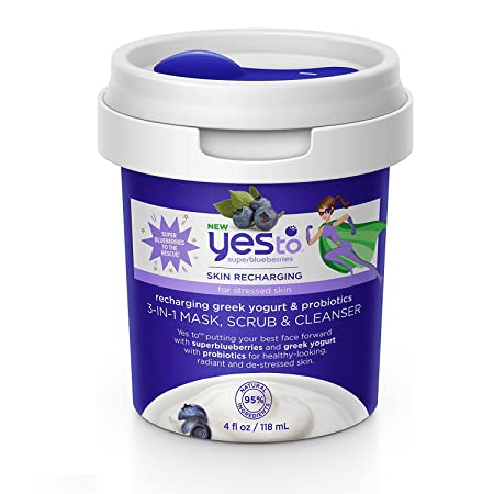 WHOLESALE YES TO BLUEBERRIES RECHARGING GREEK YOGURT & PROBIOTICS 3-IN-1 MASK SCRUB & CLEANSER 4 OZ - 48 PIECE LOT