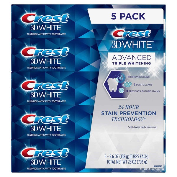 WHOLESALE CREST 3D WHITE ADVANCED TRIPLE WHITENING TOOTHPASTE 5.6 OZ (PACK OF 5) - 48 PIECE LOT