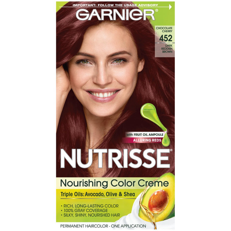 WHOLESALE GARNIER NUTRISSE ULTRA COLOR NOURISHING HAIR COLOR CREME - DARK REDDISH BROWN 452  - 48 PIECE LOT