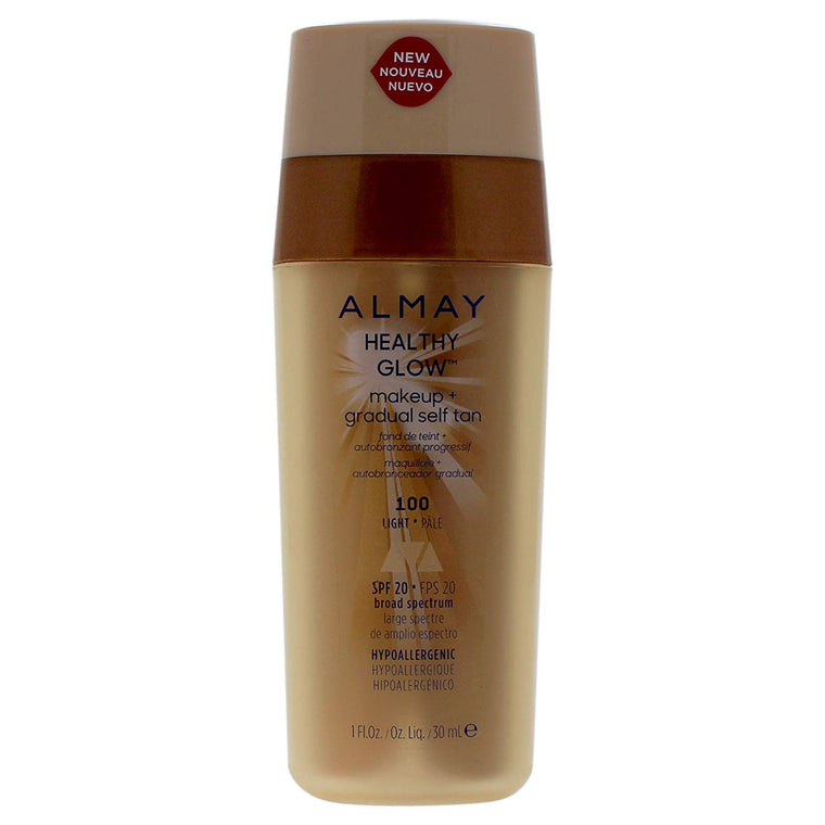 WHOLESALE ALMAY HEALTHY GLOW MAKEUP + GRADUAL SELF TAN 1 OZ - LIGHT 100 - 48 PIECE LOT