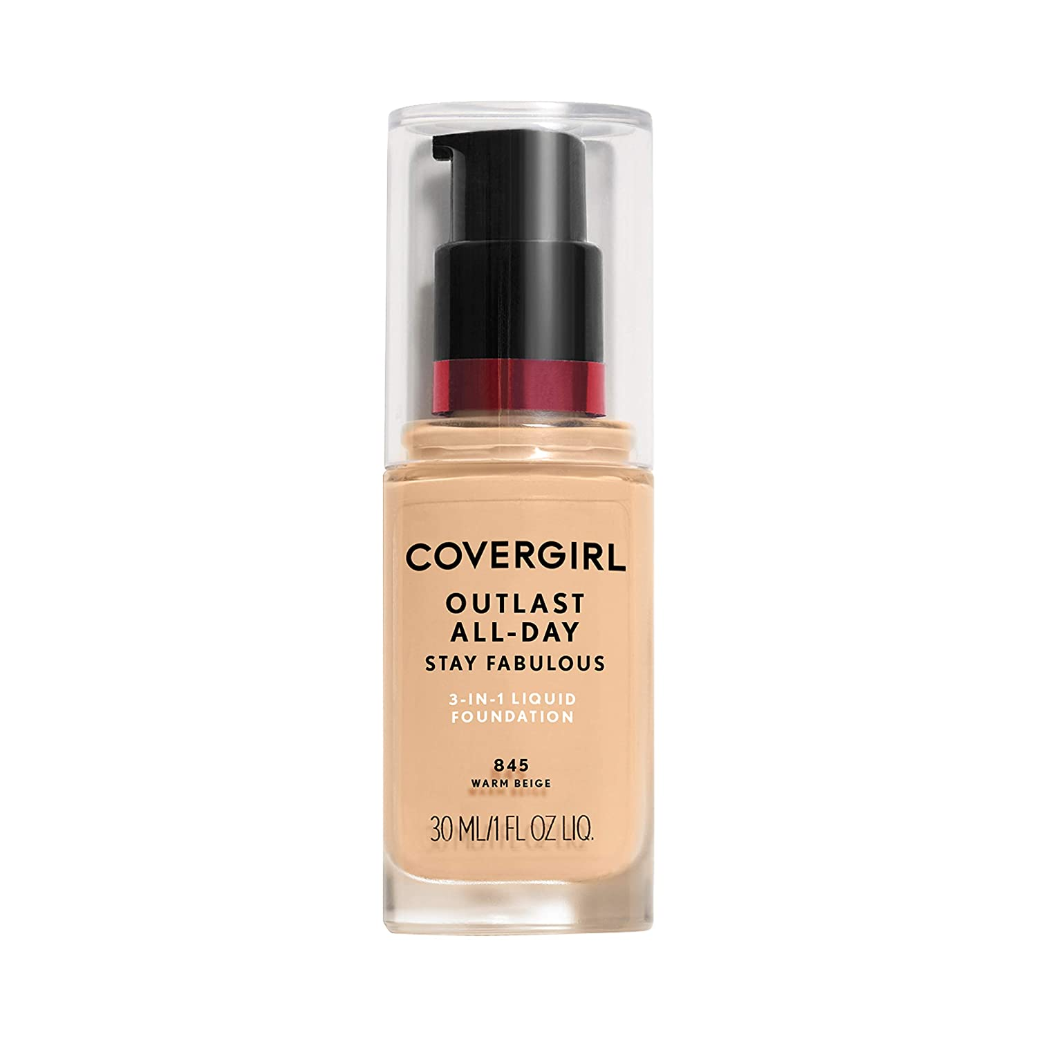 WHOLESALE COVERGIRL OUTLAST ALL-DAY STAY FABULOUS 3-IN-1 FOUNDATION 1 OZ - WARM BEIGE 845 - 72 PIECE LOT