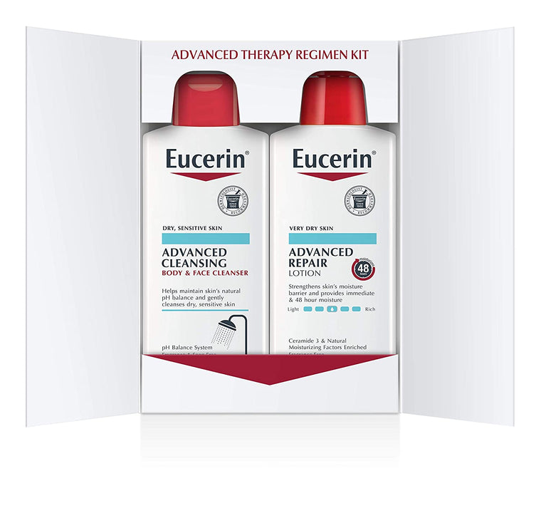 WHOLESALE EUCERIN ADVANCED REPAIR SKIN CARE TREATMENT PACK - BODY LOTION & FACIAL CLEANSER AND BODY WASH 16.9 OZ EACH - 48 PIECE LOT