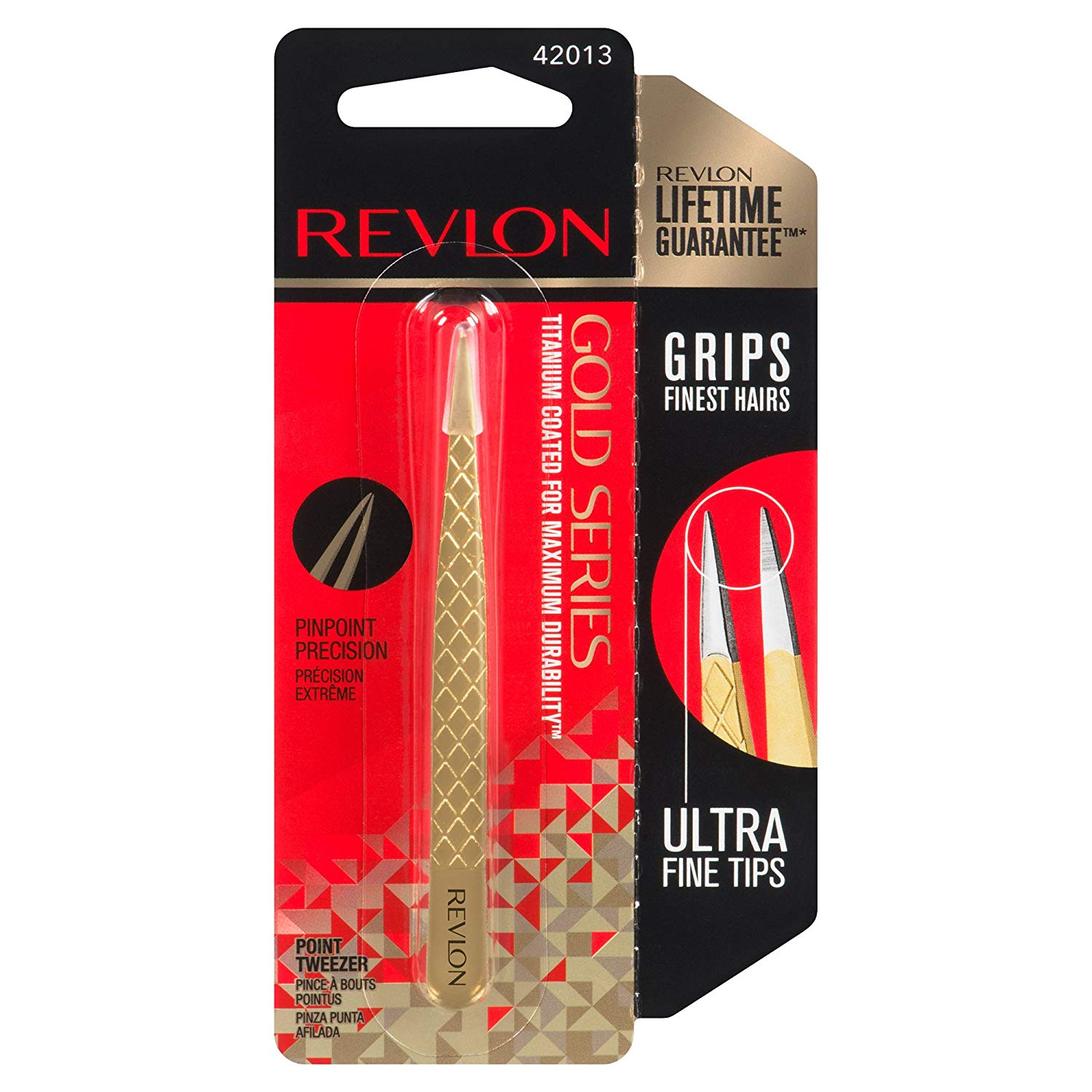 WHOLESALE REVLON GOLD SERIES TITANIUM COATED POINT TWEEZER - 72 PIECE LOT