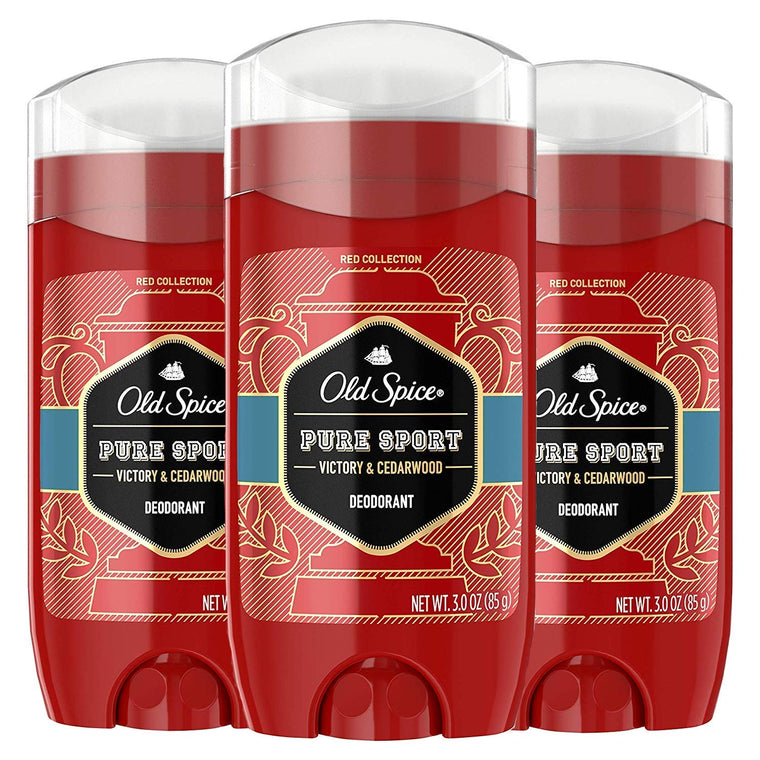 WHOLESALE OLD SPICE RED COLLECTION DEODORANT 3 OZ (PACK OF 3) - PURE SPORT VICORY & CEDARWOOD - 48 PIECE LOT