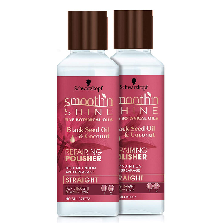 WHOLESALE SMOOTH N SHINE BLACK SEED OIL & COCONUT OIL REPAIRING POLISHER 5 OZ (2 PACK) - 48 PIECE LOT