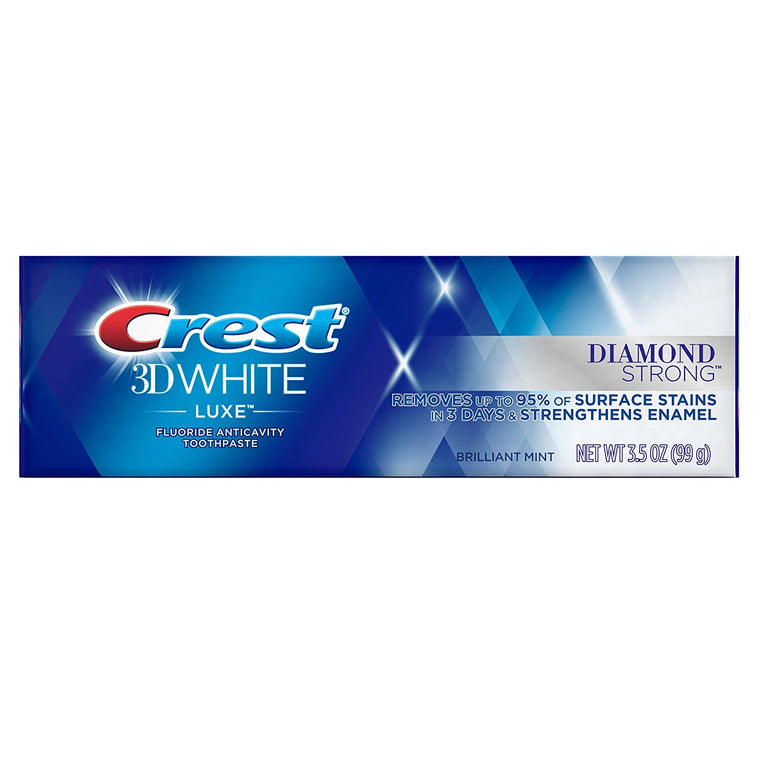 WHOLESALE CREST 3D WHITE LUXE FLUORIDE ANTICAVITY TOOTHPASTE DIAMOND STRONG 3.5 OZ - BRILLIANT MINT - 48 PIECE LOT