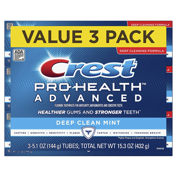 WHOLESALE CREST PRO-HEALTH ADVANCED DEEP CLEAN MINT TOOTHPASTE 5.1 OZ (PACK OF 3) - 48 PIECE LOT