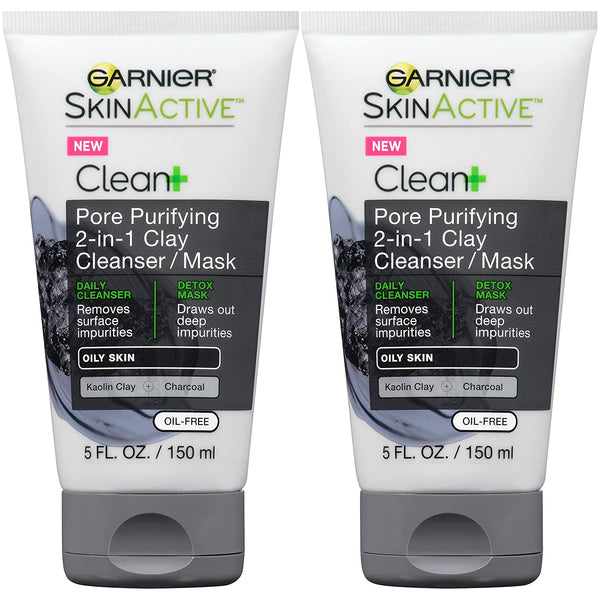 WHOLESALE GARNIER CLEAN+ PORE PURIFYING 2-IN-1 CLAY CLEANSER / MASK 5 OZ (PACK OF 2)  - 48 PIECE LOT