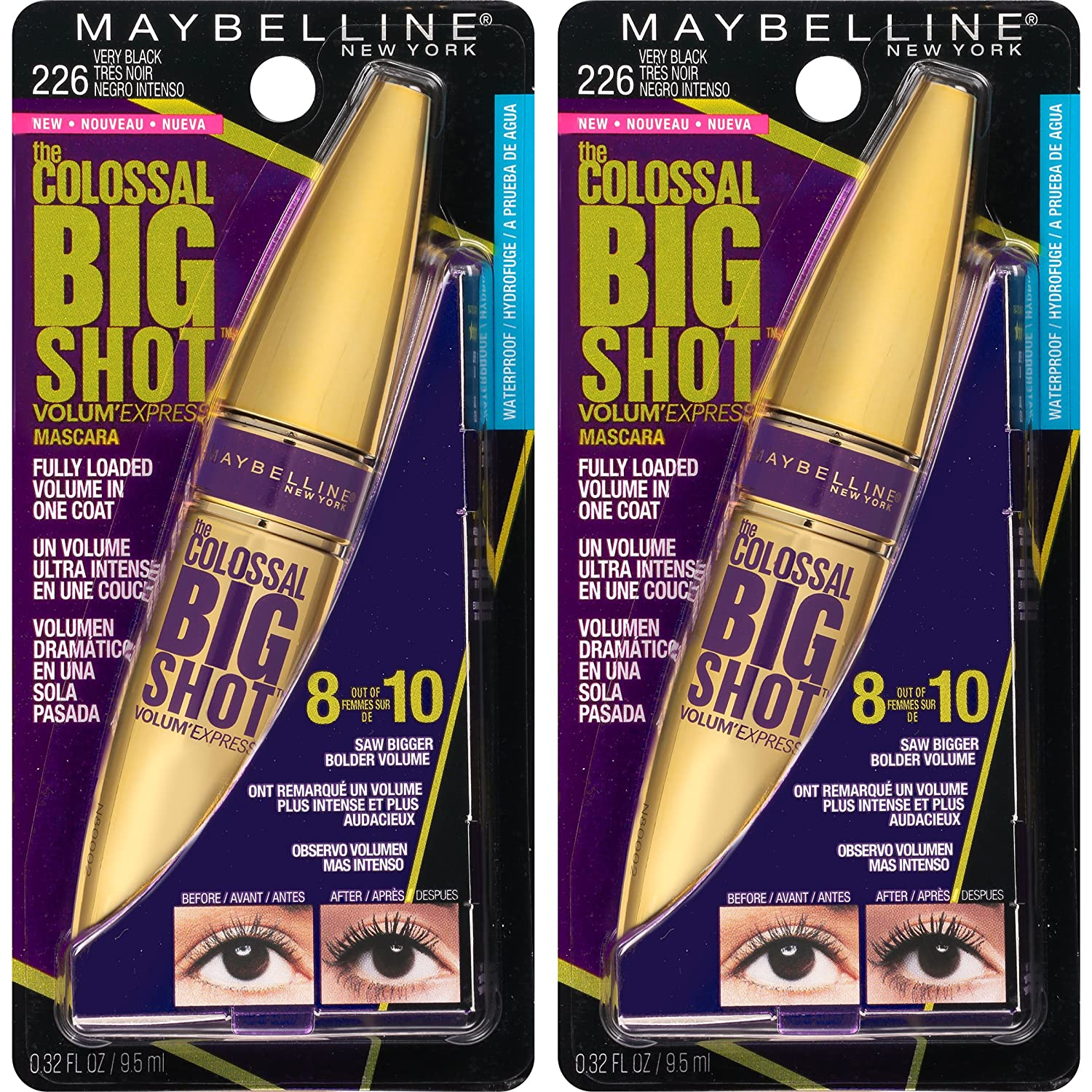 WHOLESALE MAYBELLINE VOLUM EXPRESS THE COLOSSAL BIG SHOT MASCARA 0.31 OZ (PACK OF 2) - VERY BLACK 226 - 48 PIECE LOT