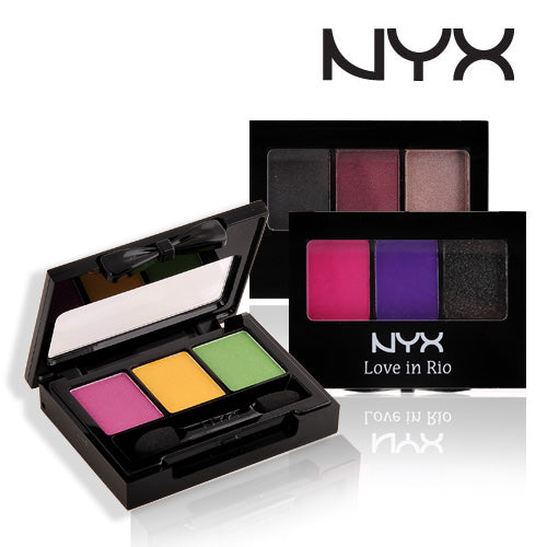 WHOLESALE ASSORTED NYX COSMETICS LOVE IN RIO EYESHADOW PALETTE - 3 SHADES - 48 PIECE LOT