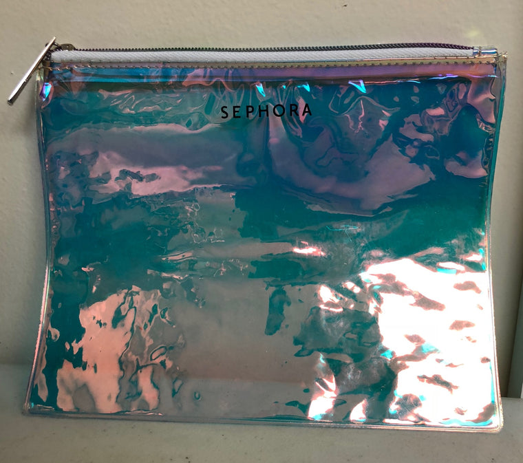 WHOLESALE SEPHORA HOLOGRAPHIC CLEAR MAKEUP BAG WITH ZIPPER - 50 PIECE LOT