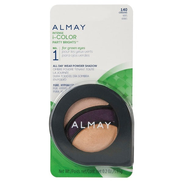 WHOLESALE ALMAY INTENSE I-COLOR PARTY BRIGHTS ALL DAY WEAR POWDER SHADOW - GREENS 140 - 48 PIECE LOT