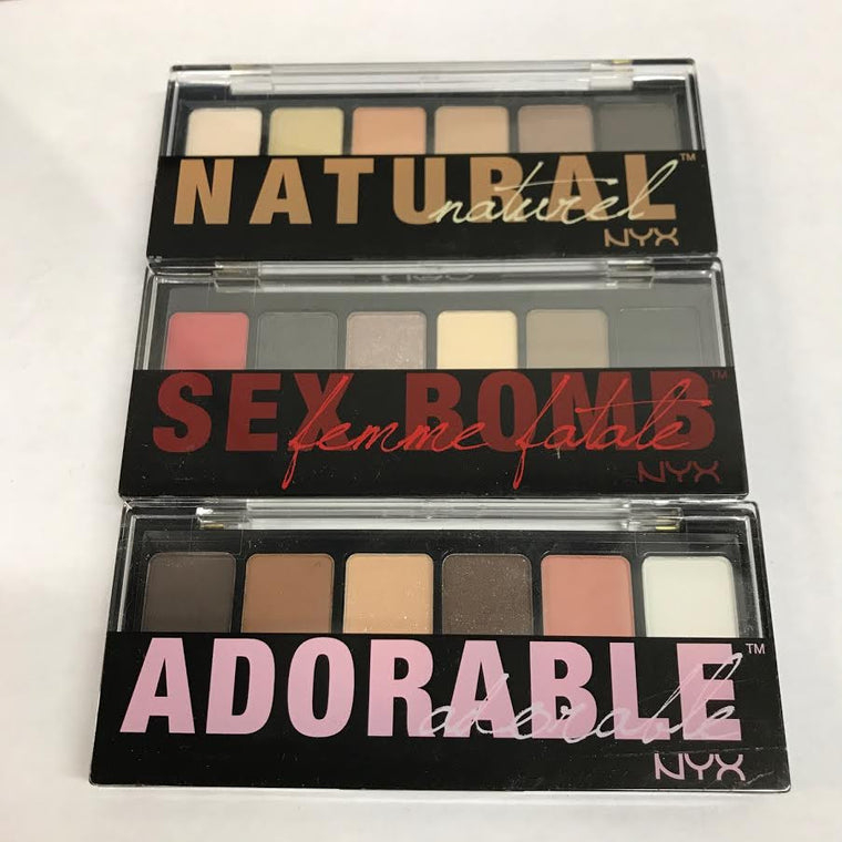 WHOLESALE ASSORTED NYX COSMETICS NATURAL ADORABLE AND SEX BOMB SHADOW PALETTE - 50 PIECE LOT