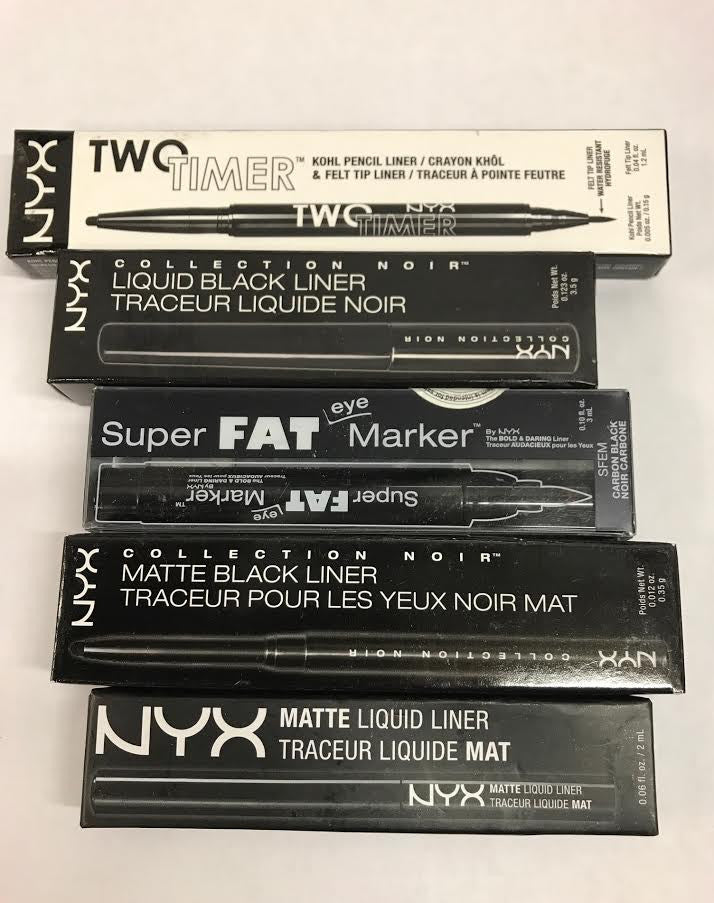 WHOLESALE ASSORTED NYX COSMETICS BLACK EYELINER DIFFERENT TYPES - 50 PIECE LOT