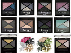 WHOLESALE RIMMEL GLAM EYES EYE SHADOW QUAD ASSORTED - 100 PIECE LOT