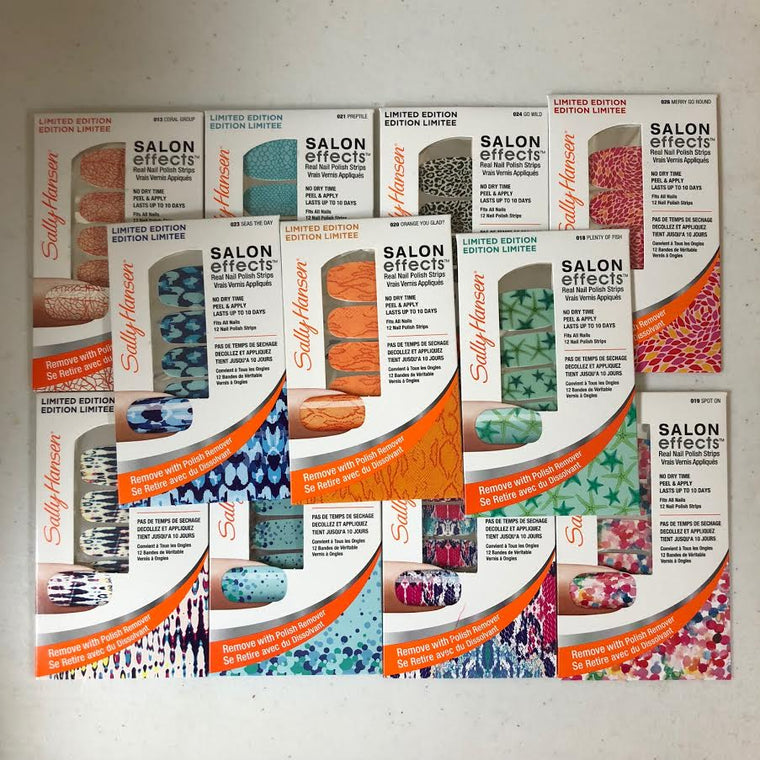 WHOLESALE SALLY HANSEN SALON EFFECTS REAL NAIL POLISH STRIPS ASSORTED - 100 PIECE LOT