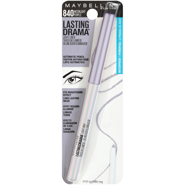 WHOLESALE MAYBELLINE LASTING DRAMA LIGHT LINER AUTOMATIC EYELINER PENCIL - MOONLIGHT PURPLE 840 - 72 PIECE LOT