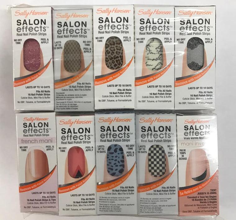 WHOLESALE SET OF 10 SALLY HANSEN SALON EFFECTS REAL NAIL POLISH STRIPS - 50 PIECE LOT