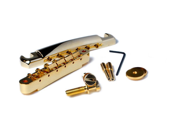 Bridge and Tailpiece Set for Gibson USA Models • ABR-1 • NOS or LIX Patina  Gold