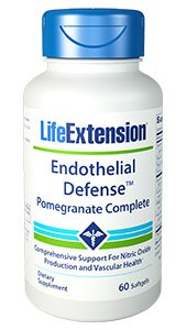 Life Extension Endothelial Defense with Full-Spectrum Pomegranate and CORDIART - 60 Softgels