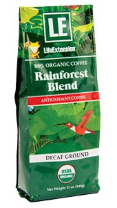 Rainforest Blend Organic Decaf Ground Coffee Life Extension 12 oz Container-Speedy Health Supplements
